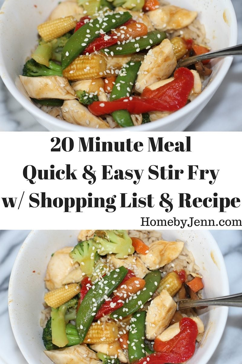Quick and Easy Chicken Stir Fry with Shopping List and Recipe Download!!