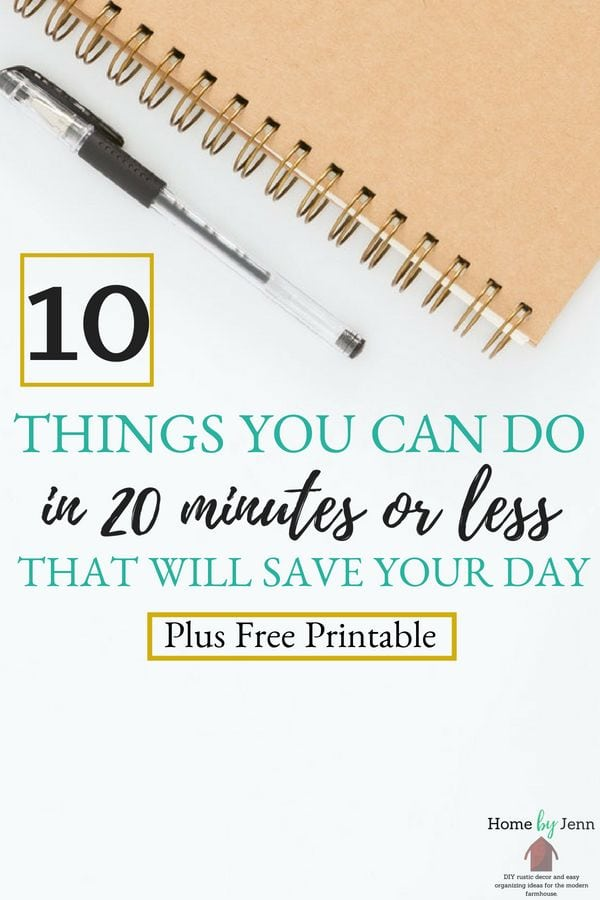 If you are short on time then you need to check out this post.  Jenn shares 10 things you can do in 20-minutes that will save your day.  She also put a list of 20 things you can do in 20 minutes that you can download for free.  Click through to learn more! #timemanagement #timemanagementtips #timesavingtips #timesaving #priorities #getmoredone #momhacks