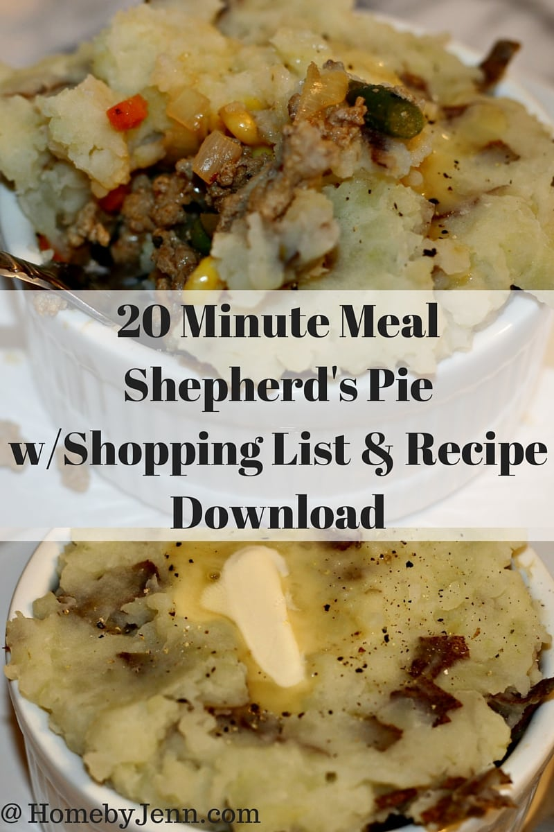 20 minute shepherds pie with shopping list and recipe download