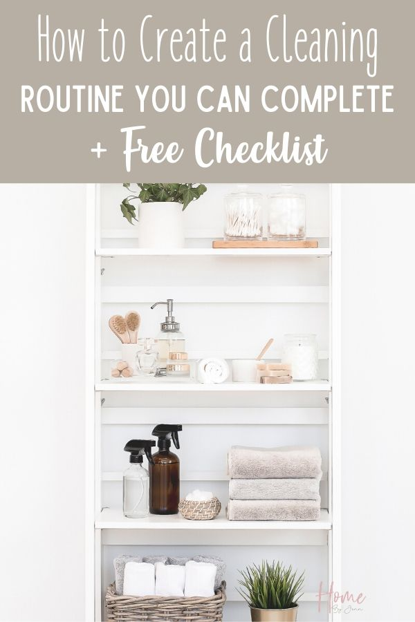Learn how to set up a cleaning routine so you can keep your house clean. #cleaning #cleanhome #cleaningtips #cleaninghacks #cleaningtipsandtricks via @homebyjenn