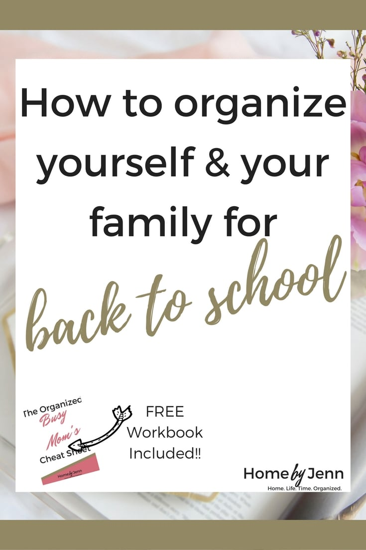 If you struggle with getting you and your family organized for the school year, then you need this post.  In this post, I share the 5 things that you should do to organize yourself and your family for the upcoming school year.  Included is the free Organized Busy Mom Cheat Sheet to help you out.