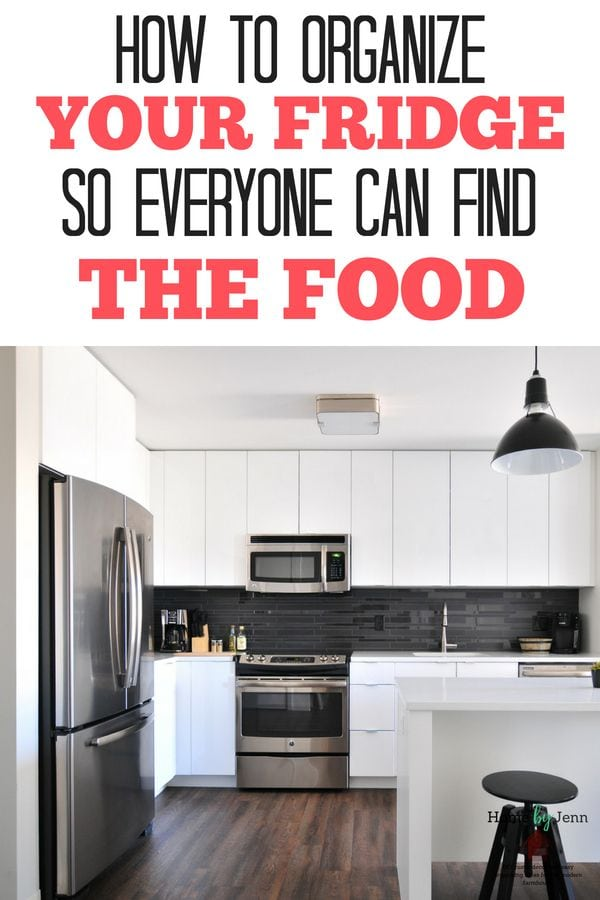 Organize your fridge so everyone can find the food. These simple organizing ideas will keep your refrigerator organized with ease. #kitchen #organize #organizingtips #organizingideas #cleankitchen #fridge #organizedfridge via @homebyjenn
