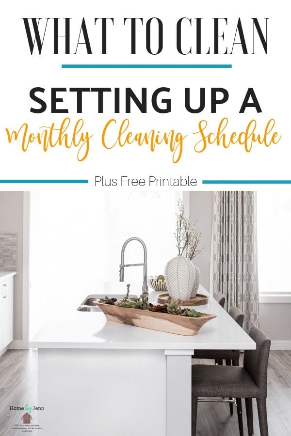 Setting up a monthly cleaning schedule will allow you to know that your whole house is getting clean. You'll know exactly what to clean each month. #monthlycleaning #cleanhome #cleaningschedule via @homebyjenn