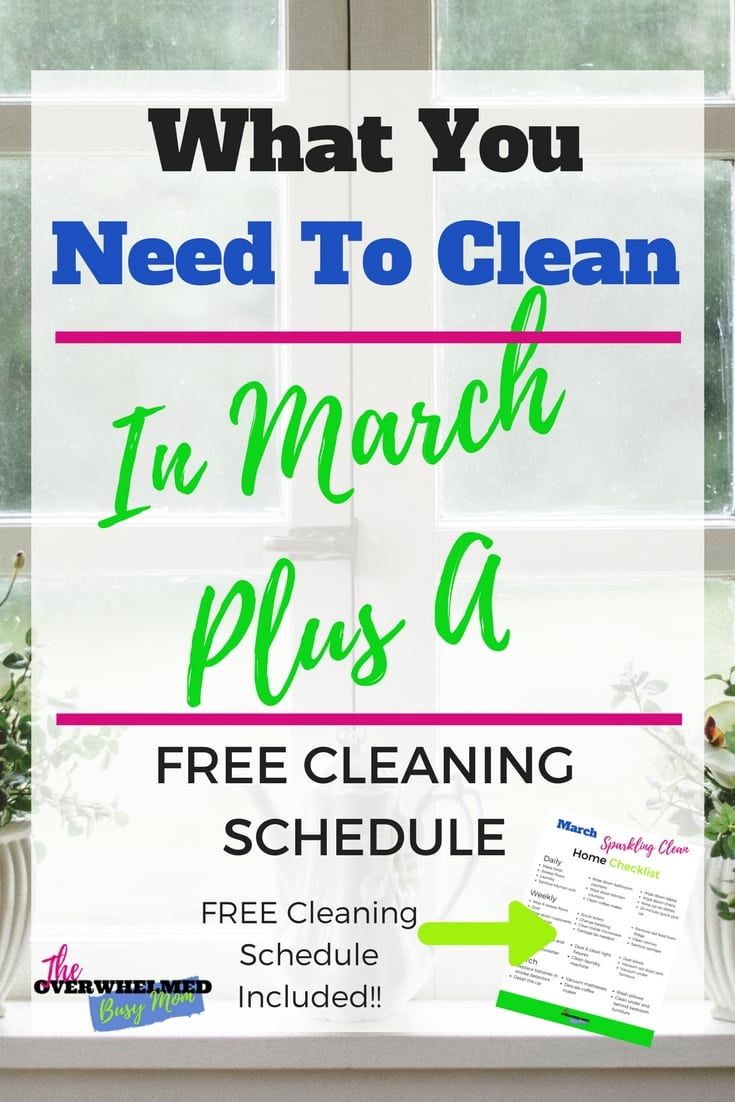 Knowing what to clean when is super confusing.  In this post, Jenn shares what needs to be cleaned in March.  She also shares her March cleaning schedule that you can print off and use to clean your home too. #monthlycleaningschedule #cleanhome #cleaningroutine #wheretostartcleaning #monthlycleaningchecklist #monthlycleaningscheduleforworkingmoms #cleaningschedule #cleaningscheduleforworkingmoms