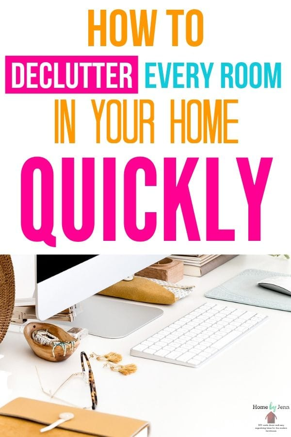 Learn how to quickly declutter your home. Download the free decluttering checklist printable to help you organize your home and remove the clutter. #decluttering #clutter #declutter #cleanhome #organizingtips #organizedhome #orgnaizing