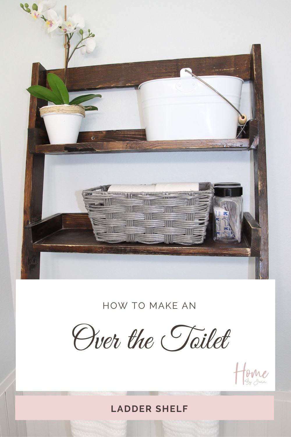 Perfect beginner diy woodworking project. Add much needed storage to your small bathroom with this over the toilet shelf. #diy #diyproject #woodworking #smallspace #smallbathroom #bathroom #bathroomorganization #smallbathroomorganization