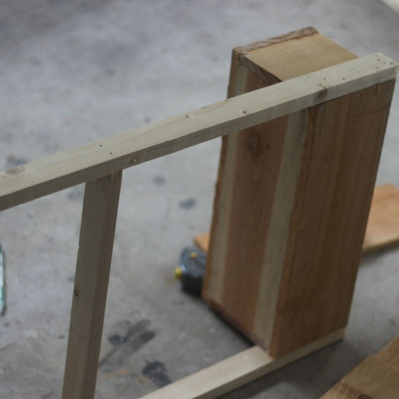 planter box on its side attaching legs.