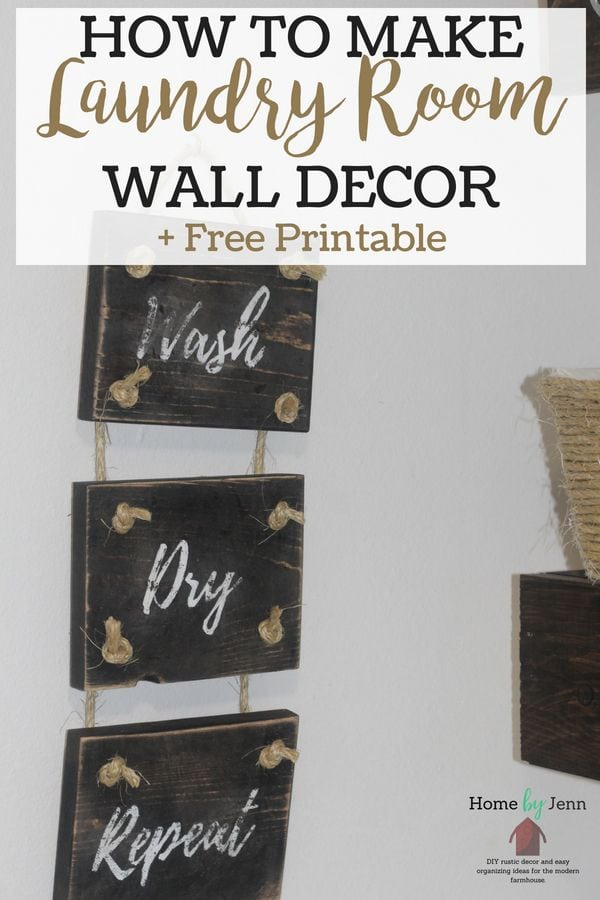 Start enjoying going into your laundry room with some DIY laundry room decor.  Learn how easy it is to make this wall sign #DIY #laundryroom #decor #walldecor #woodworking  via @homebyjenn