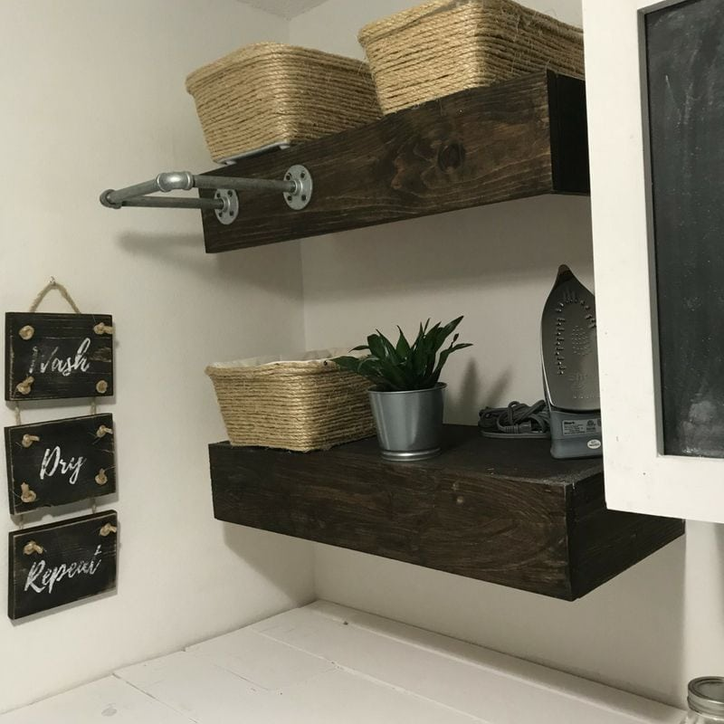 laundry room shelves with basket storage