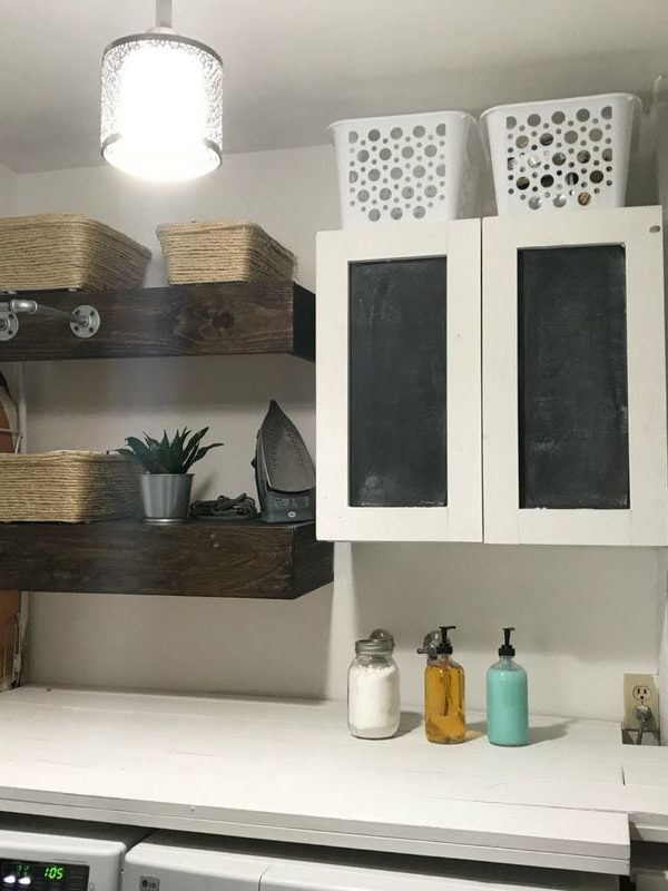 small laundry room cabinet and shelves