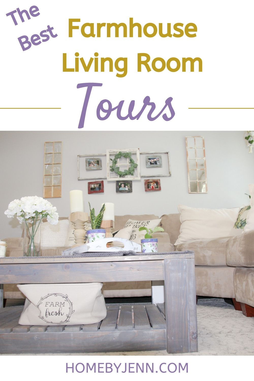 family room with a coffee table and sectional via @homebyjenn