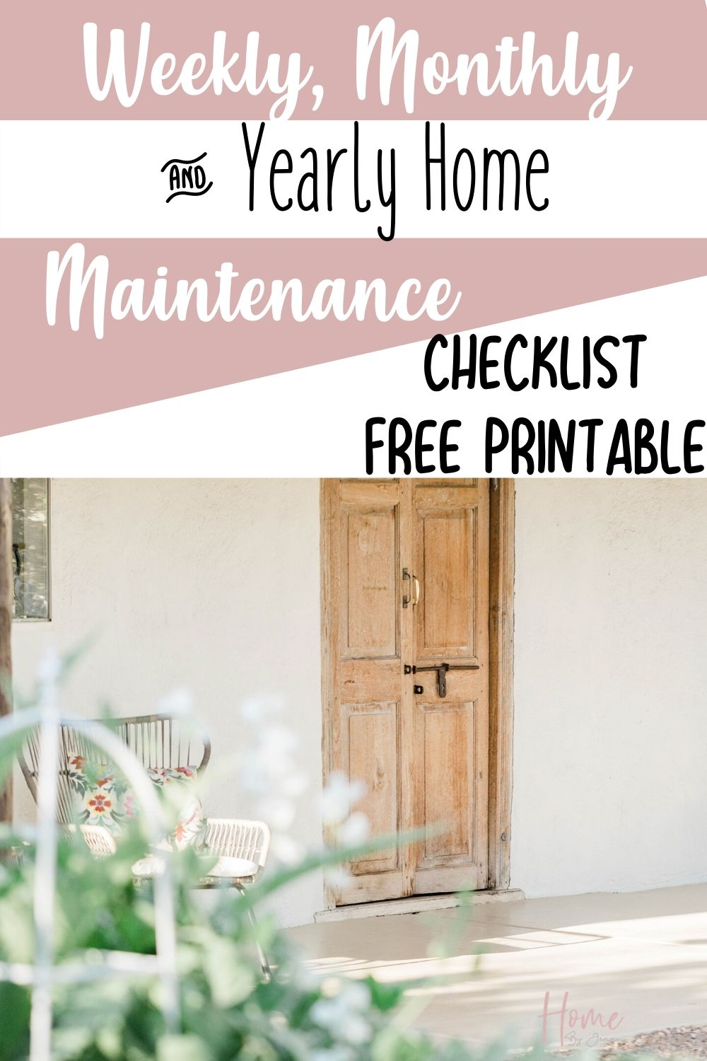 Keep your home maintained by doing regular maintenance checks. Check out this weekly, monthly, and yearly home maintenance checks with free checklist free printables. #home #homemaintenance via @homebyjenn