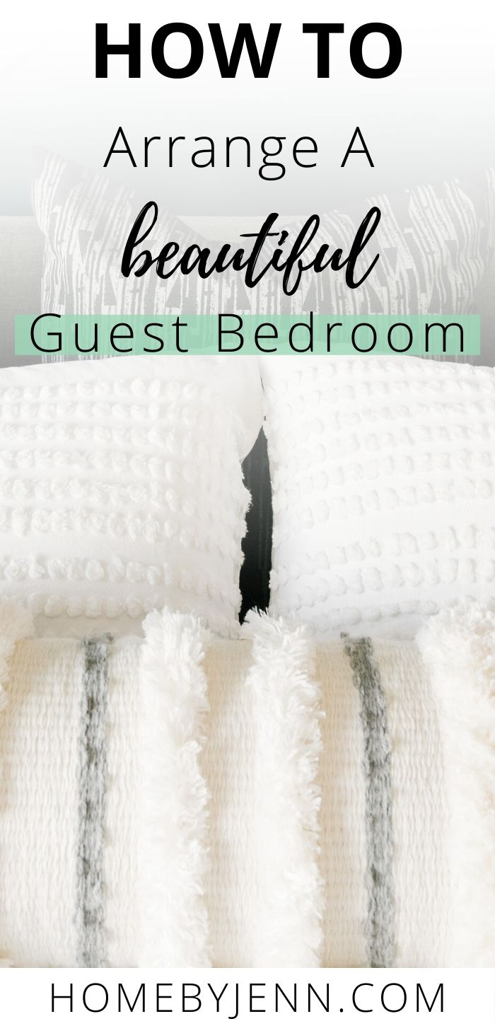 Have your overnight guests feel welcome in a guest bedroom. Learn how to arrange a beautiful guest bedroom without breaking your budget. These budget-friendly decor ideas will help you arrange your guest bedroom. via @homebyjenn