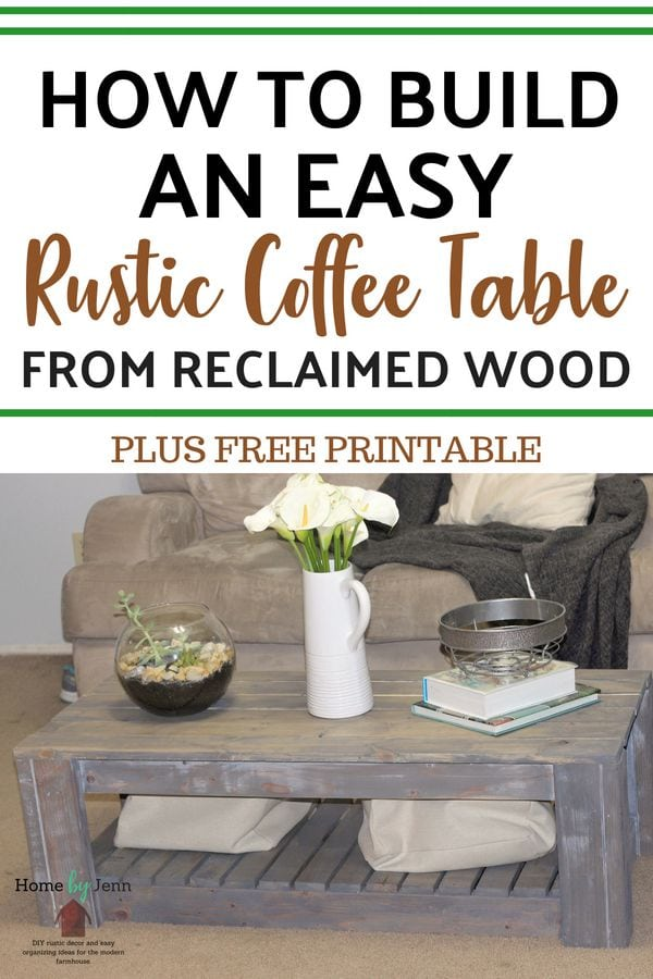 Build your own coffee table from reclaimed wood. Get a complete tutorial on DIY rustic coffee table #woodworking #diy #diyproject #coffeetable #farmhouse #rustic #rusticcoffeetable via @homebyjenn