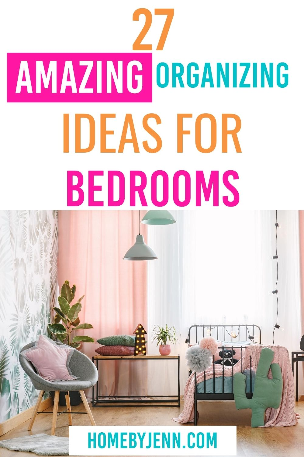 Become inspired to organize every bedroom in your home with these bedroom organizing ideas. They are simple to implement and many of them are budget-friendly. via @homebyjenn