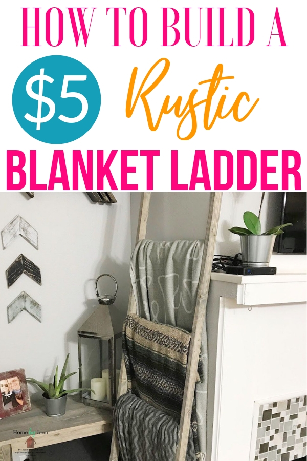 This DIY blanket ladder is simple and easy to do! In just a few simple steps, this blanket ladder diy will be done and decorating your home in no time! #blanketladder #diy #homedecor #homemade