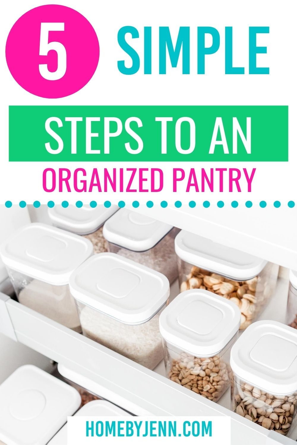 Organize your pantry in 5 simple steps. It is possible to keep your pantry clean and organized. #pantry #kitchenpantry #organize #organizedkitchen #kitchen #clean via @homebyjenn