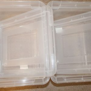 Using plastic tubs will allow you to create a portable filing system.