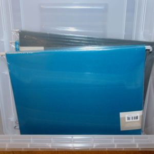 Use a clear filing tub with hanging file folders to create a simple home filing system.