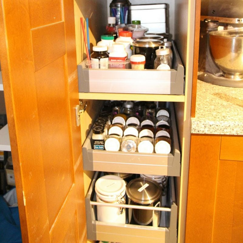 small pantry organized after