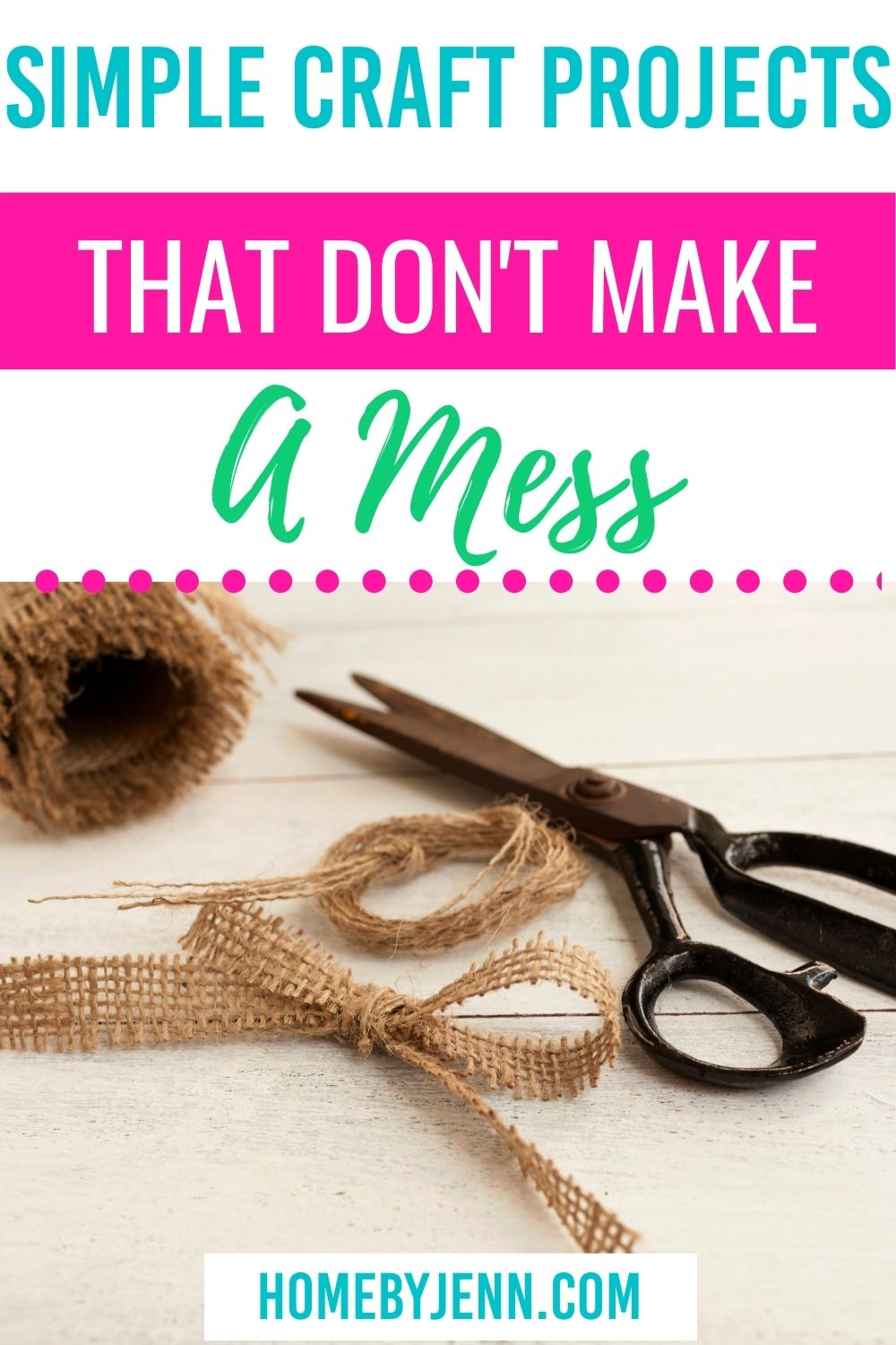 One downside to doing crafts is the mess it can make and the space that it takes. I'm going to share some simple craft projects you can do that don't make a mess. Who knows, you might find your new hobby! via @homebyjenn
