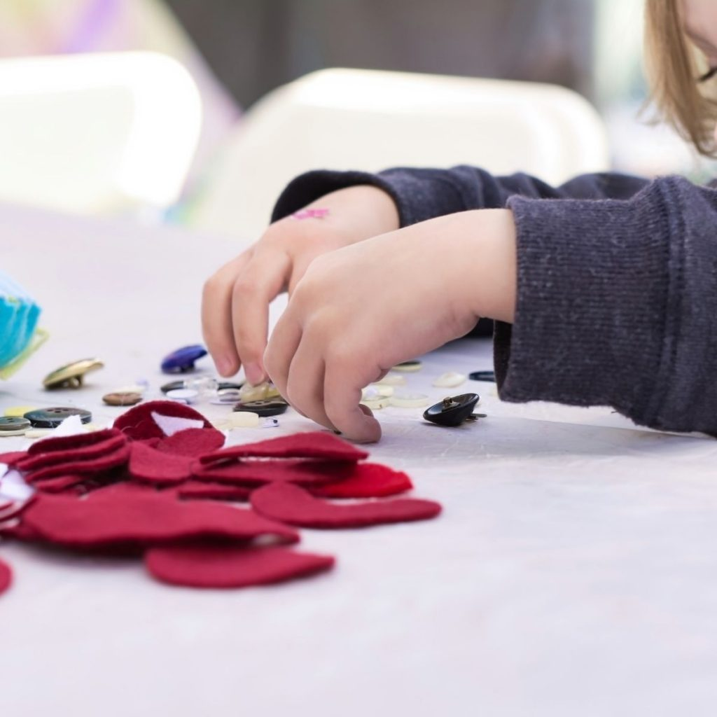 child making a mess free craft project