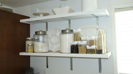 installed diy kitchen shelves