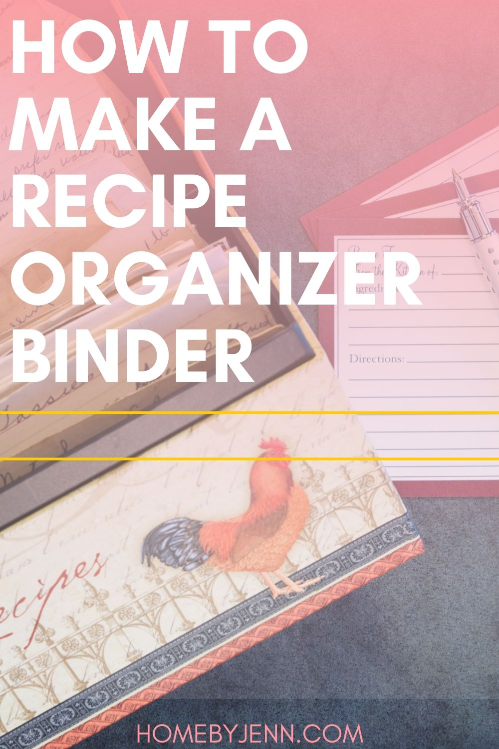 Organize your recipes in one place with a recipe binder. Having a recipe organizer binder is a life saver. #recipebinder #organize #organizepaperclutter #recipebinder #homebinder #planner via @homebyjenn