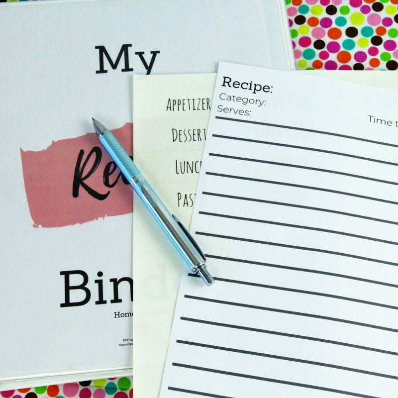 Write out new recipes in your recipe organizer binder