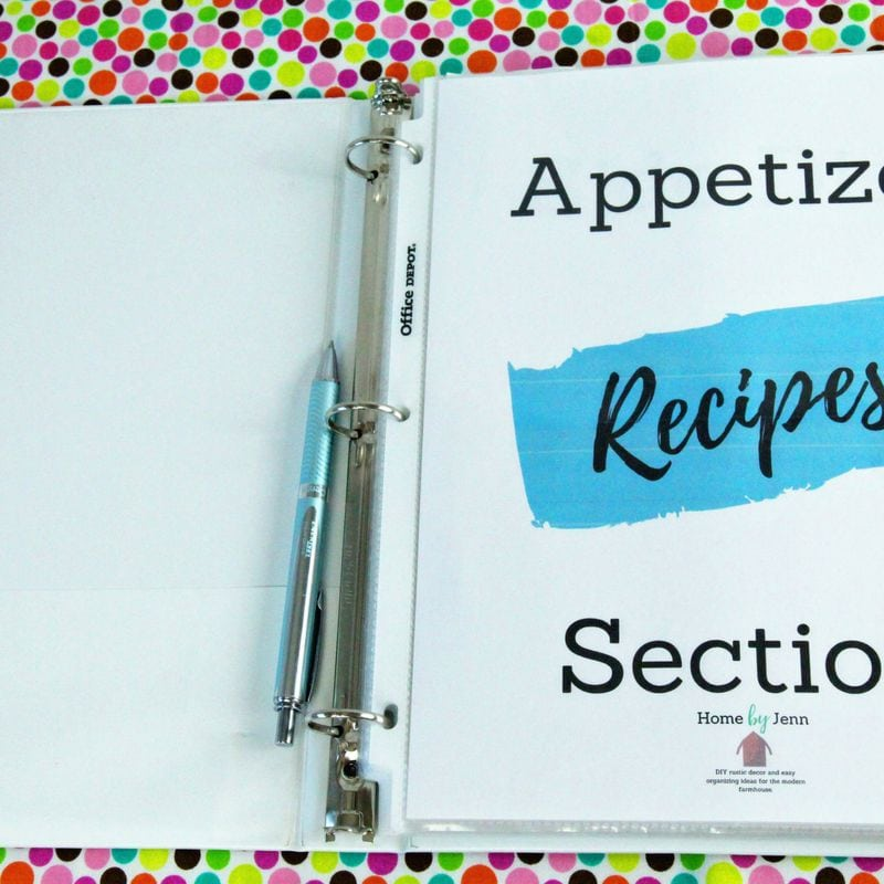 Categories the recipes in your recipe organizer binder