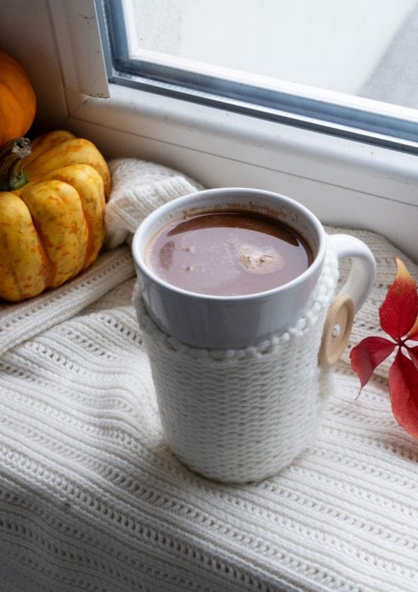 hot cocoa on a window cil with pumpkins