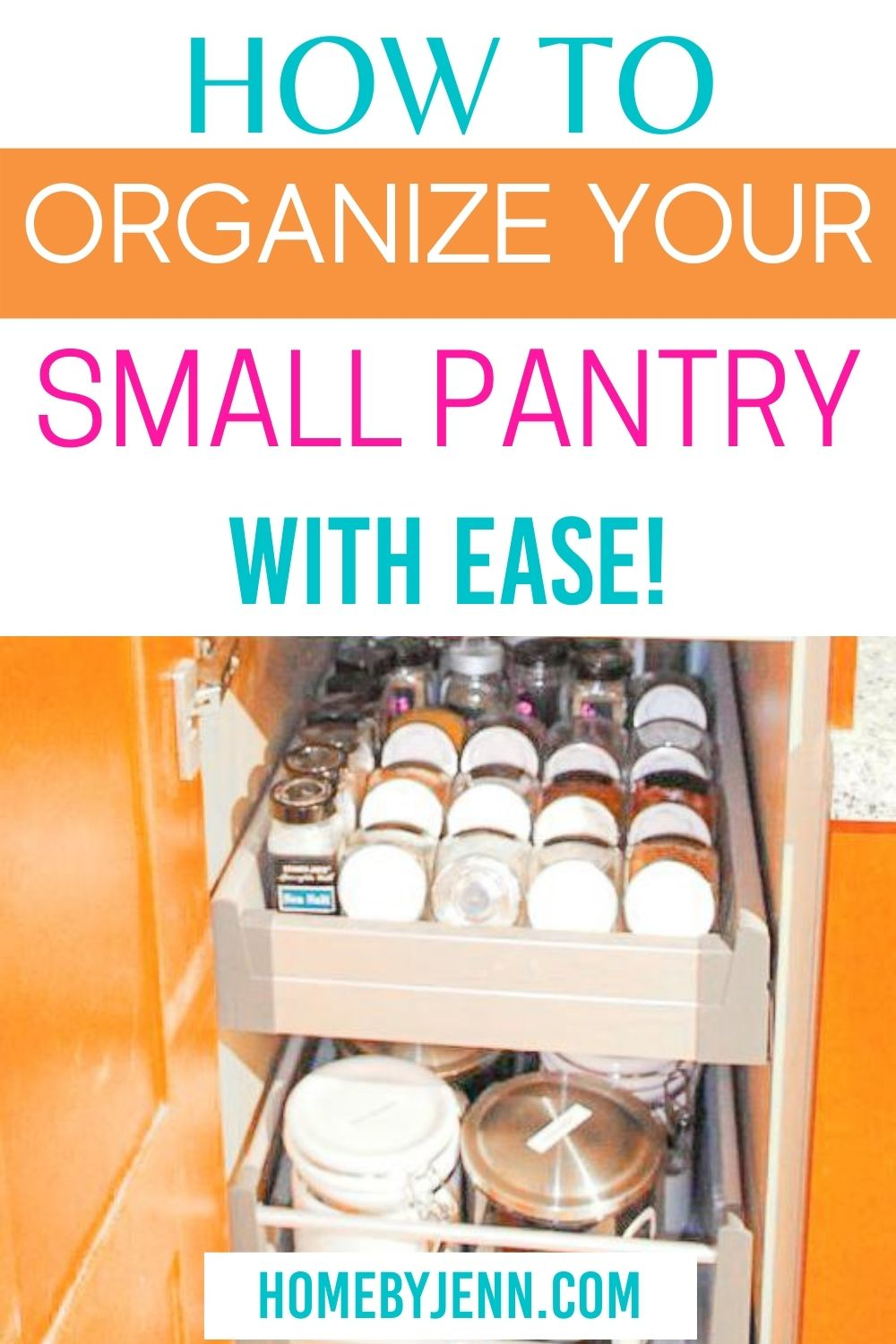 Small pantry area to keep organized. With a pantry organization system in place, you can create a small organized pantry with ease. Jenn shares her small pantry organizing ideas with you in this post. #pantry #smallpantry #organizing #smallpantryorganiziation #kitchen #kitchenpantry via @homebyjenn