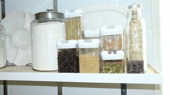 pantry items stored on the kitchen shelf