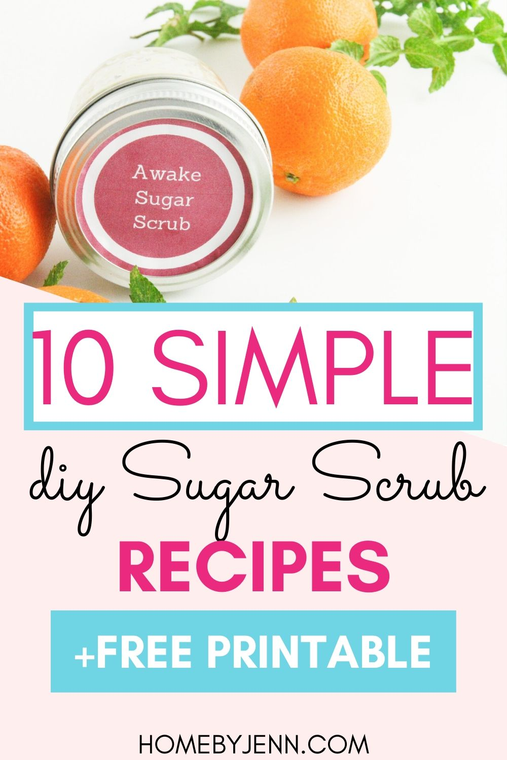Learn how to make your own homemade sugar scrubs for your hands, face, lips, and body.  In this post get 10 DIY sugar scrub recipes that you can make with ingredients you probably have at home now. #DIY #sugarscrub #homemade #DIYsugarscrub #lipsugarscrub #handscrub #DIYbeauty via @homebyjenn