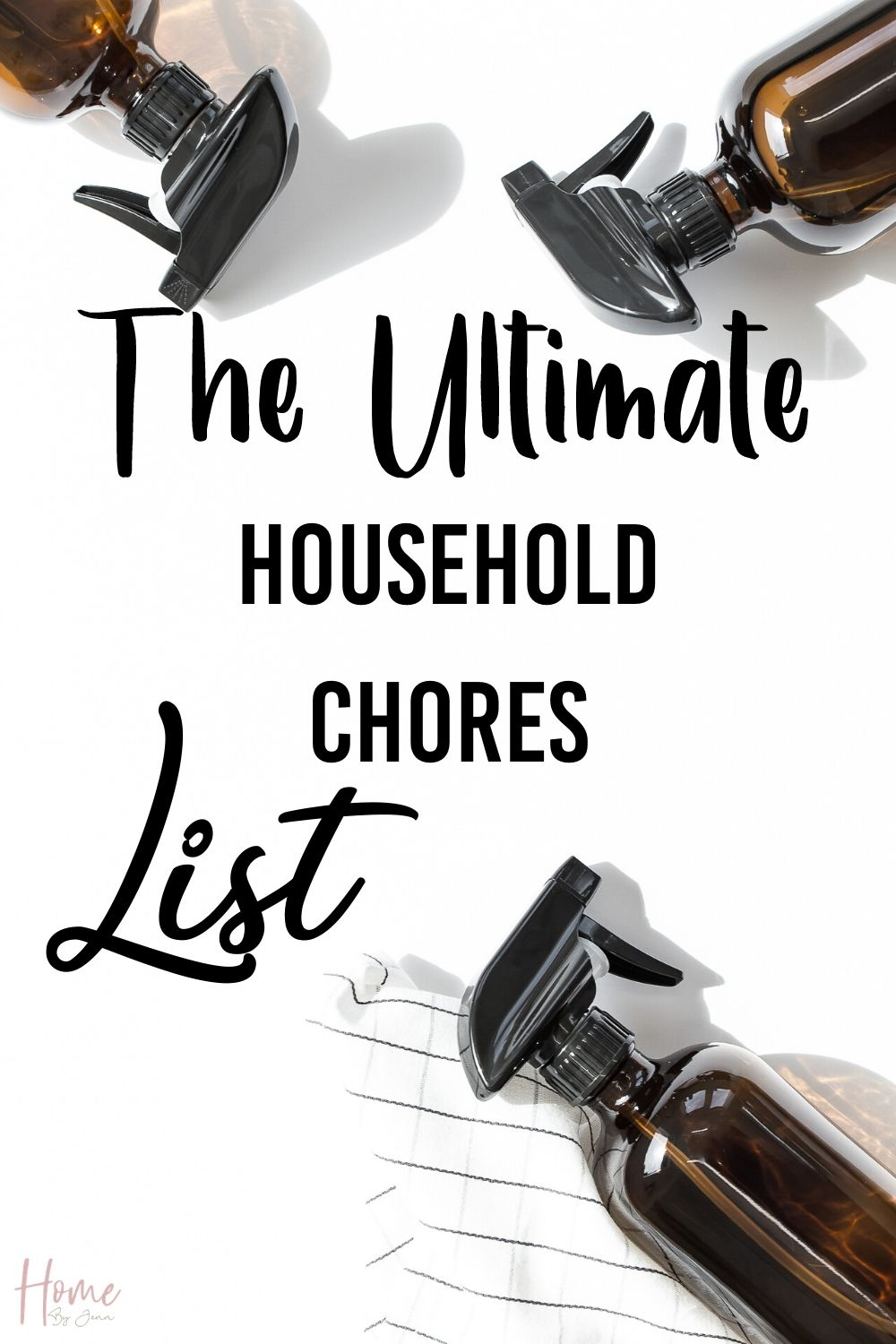 Check out the ultimate household chores list. Know what needs to be done daily, weekly, monthly, and seasonally to keep up on the household chores. #cleaning #cleaningtips #cleaningroutine #householdchores #chores via @homebyjenn
