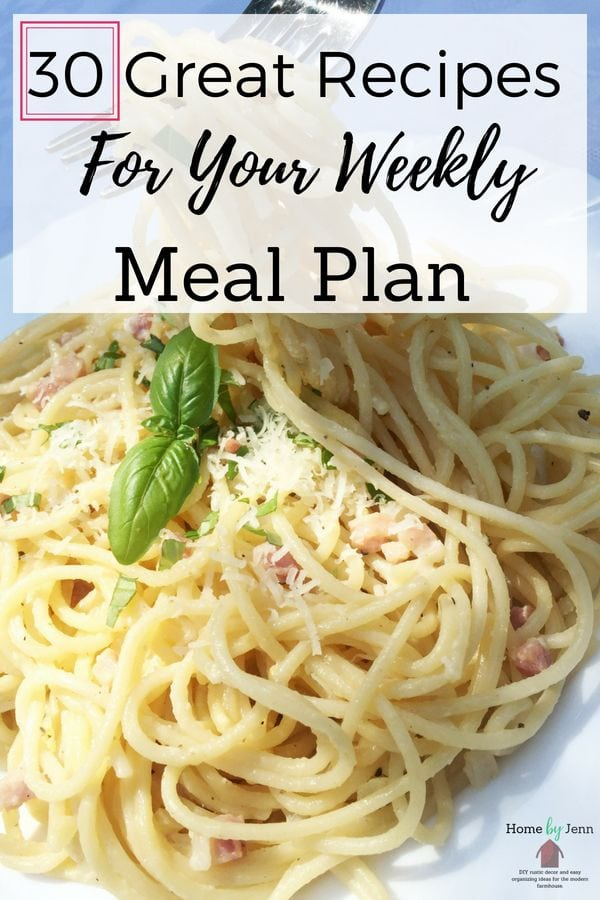 Enjoy 30 recipes for your weekly meal plan. I've included crock pot recipes, instant pot recipes, and healthy budget friendly recipes for you to love. #mealplan #weeklymealplan #mealplanning #weeklymealplanning #instantpot #slowcooker #crockpot #budgetfriendly #recipes #dinner #dinnerideas via @homebyjenn
