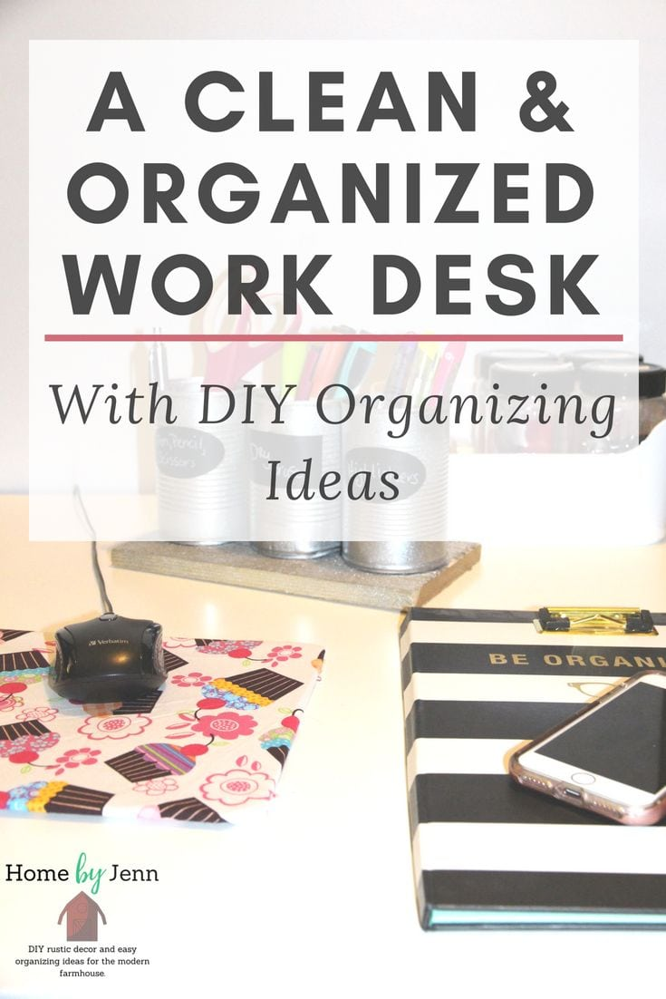 Having a clean and organized work area is key to helping with productivity.  You can save money on your home organization by doing it yourself.  Get some DIY desk organizer ideas to help you create a work space that stays clean and organized. #DIY #Deskorganizerideas #organizingideas #cleaning #organized