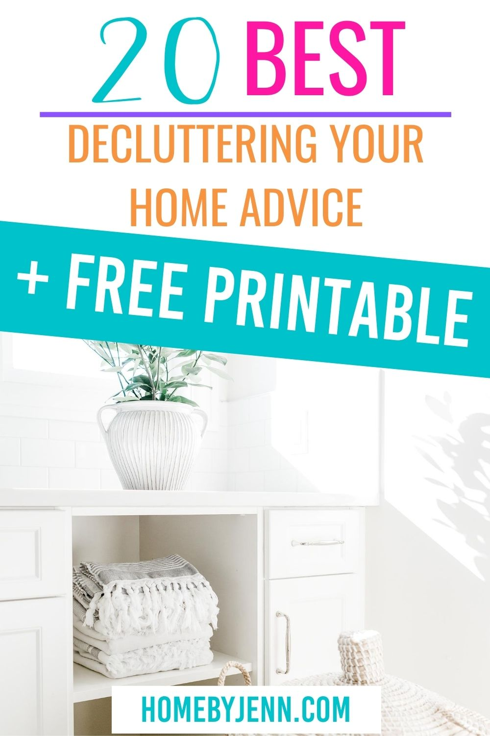 Clutter is hard to live with. Get the best decluttering advice out there to help you declutter your home. #cleanhome #declutter #organize #decluttingyourhome #declutteringchecklist via @homebyjenn
