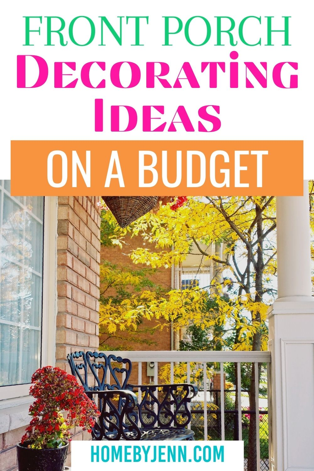 Fall front porch decorating ideas on a budget is easy to attain with these tips. Stay on budget with these budget friendly decorating ideas. #fall #falldecor #falldecoronabudget #frugaldecor via @homebyjenn