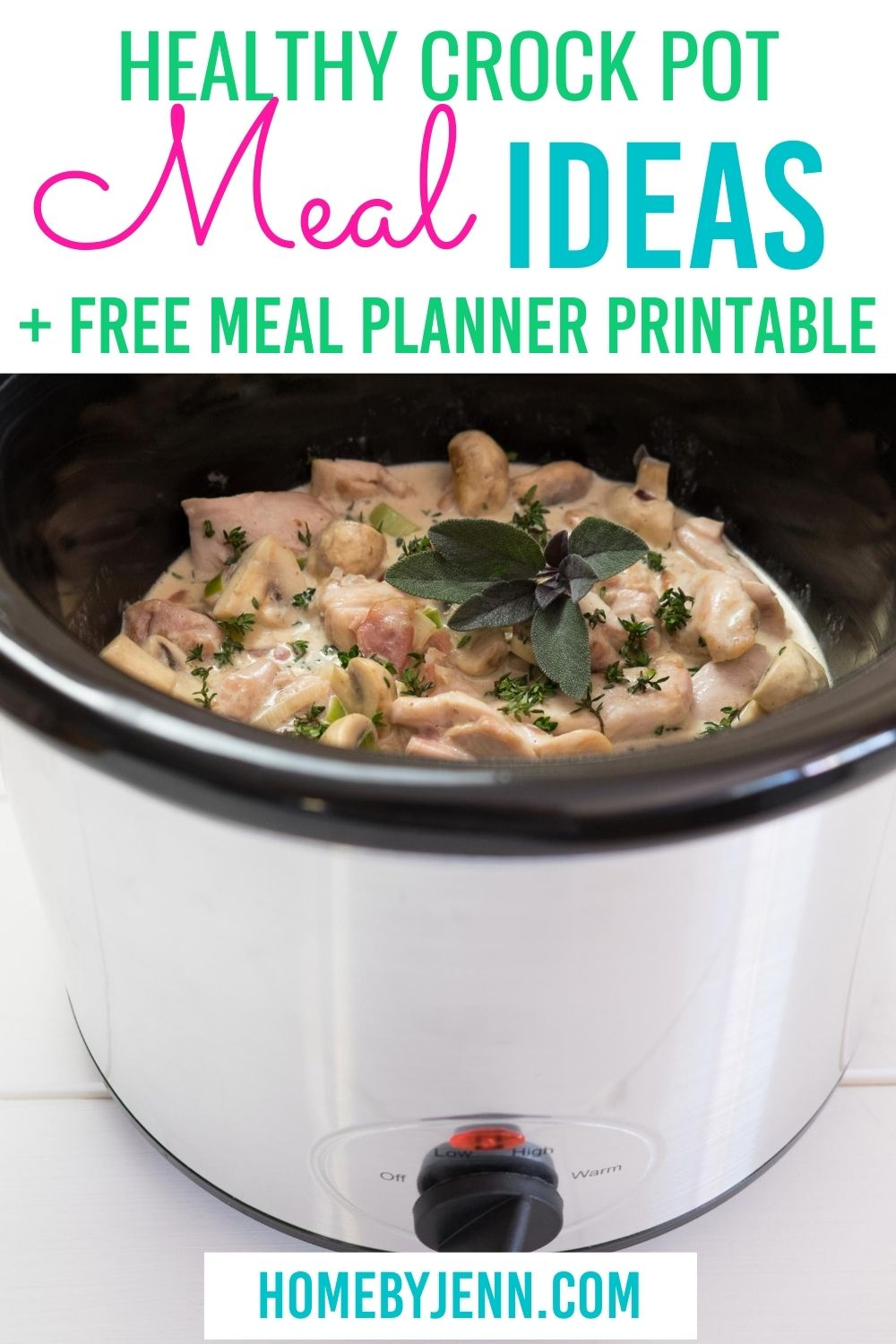 Learn how using your crock pot will save you time. Get some tasty and healthy crock pot meals that will save you time. #slowcooker #crockpot #mealplan #dinners #dinnerideas #setitandforgetit via @homebyjenn