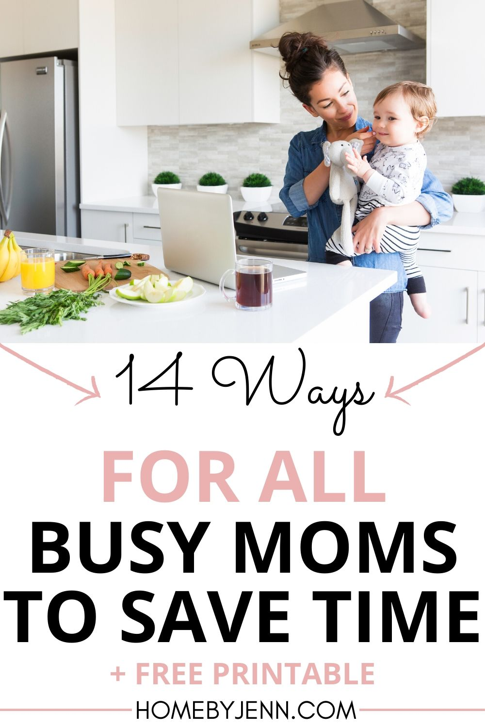 Follow these 14 Time Saving Tips to Save you time during the day. Great for busy moms always on the go #timesavingtips #hacks #organized #timemanagement #schedule #mealprep #chores via @homebyjenn