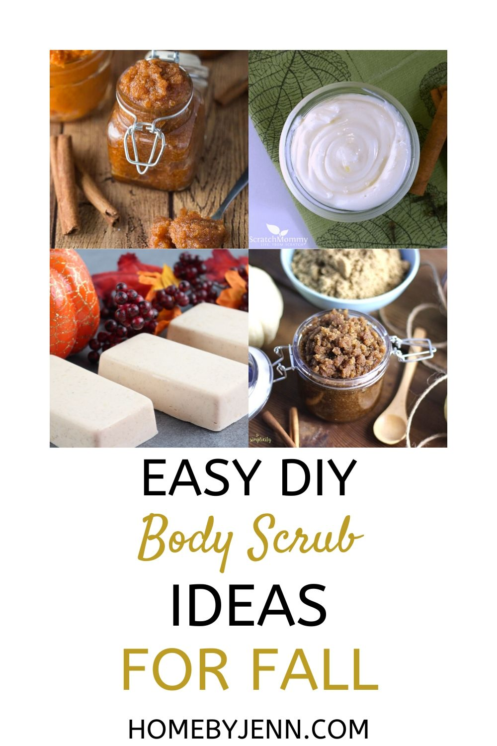 Here are 15 absolutely easy and refreshing DIY body scrub ideas to make to soothe that dry itchy skin, or give as gifts. Easy, and they smell amazing | #diy #sugarscrub #soap #giftideas #holidays #fall #fallscent #beauty #homemade via @homebyjenn