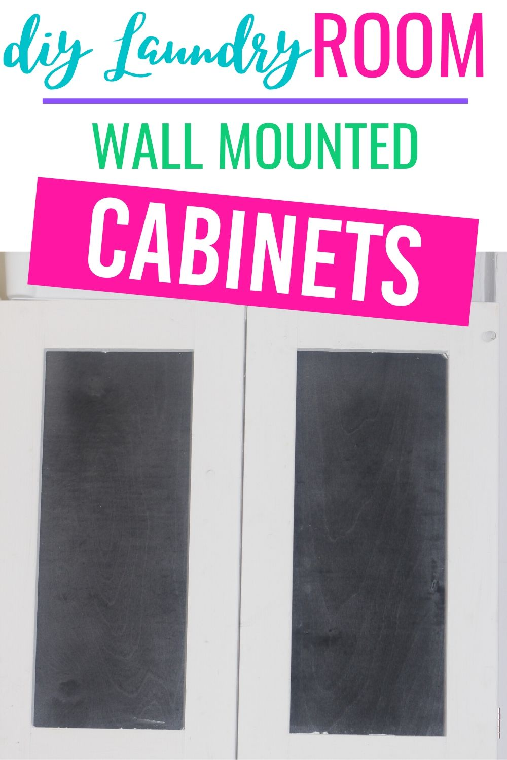 Perfect beginning woodworking project. Organize your laundry room with these diy laundry room wall mounted shelves with chalkboard paint doors. #diy #diyproject #woodworking #rustic #laundryroom #storage via @homebyjenn
