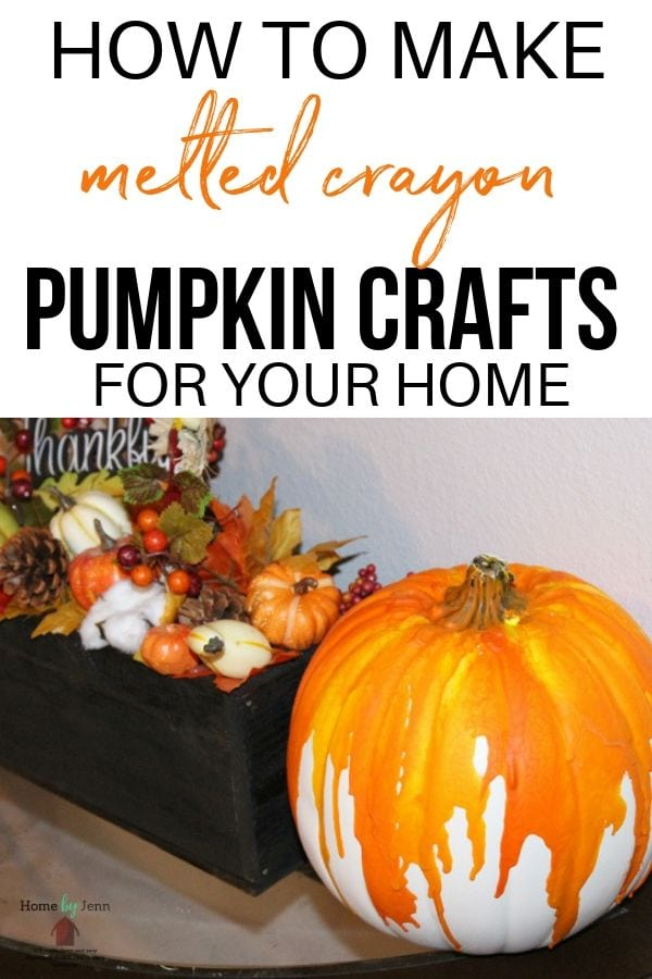 Learn how to make this easy melted crayon pumpkin craft. Put this pumpkin out on display in your home or even front porch to showcase your fall design. #easy #fall #pumpkin #pumpkincraft #crayons #melt #crayoncraft #pumpkincraft