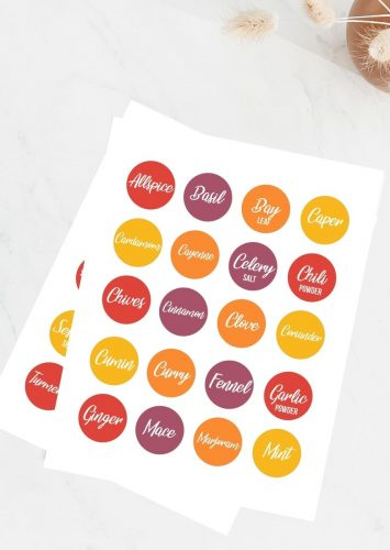 Organized Spice Labels Free Printable