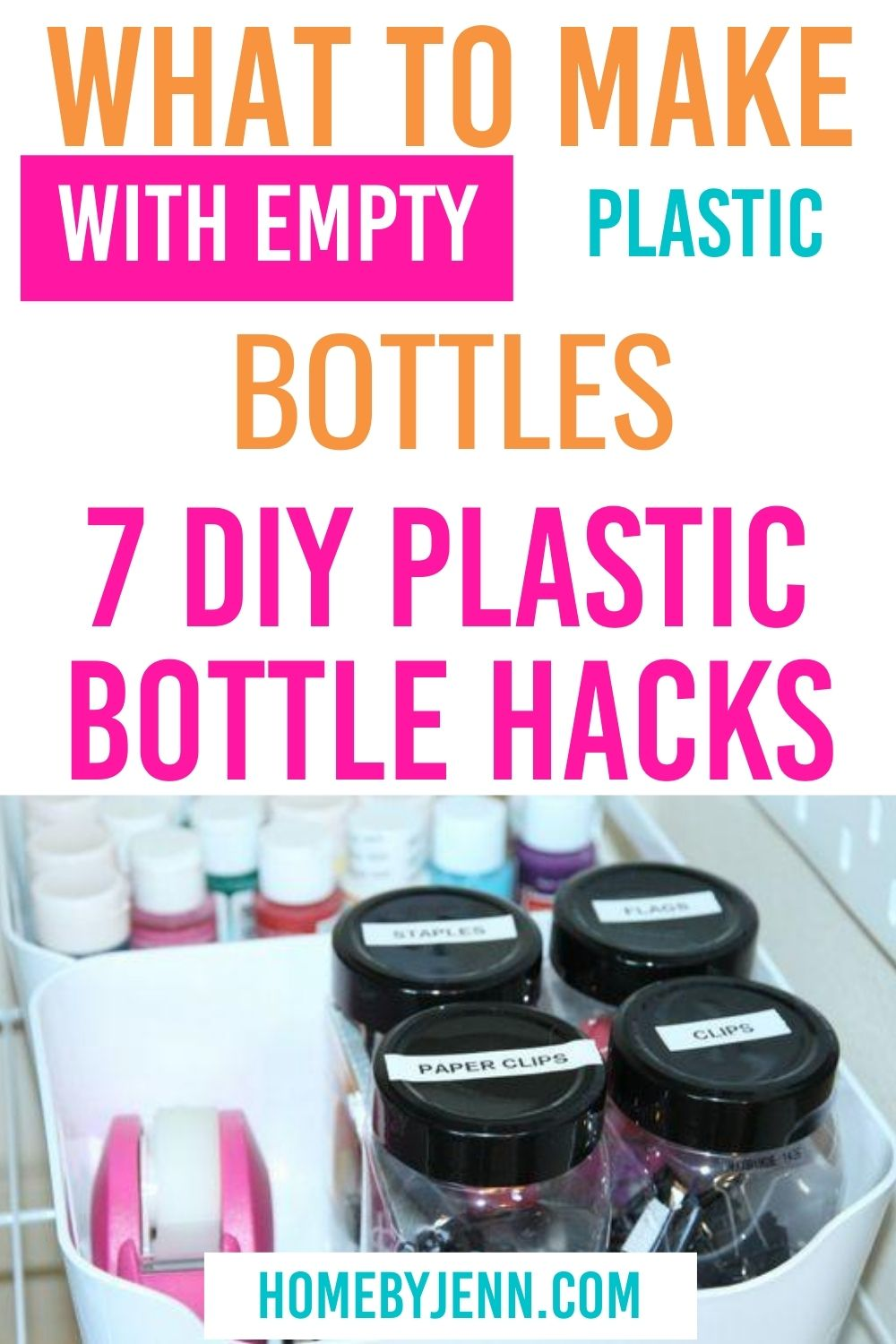 Get 7 DIY plastic bottle hacks to know what to make with empty plastic bottles. These upcycle ideas will help you organize your home. #organize #DIY #upcycle #plasticbottlehack via @homebyjenn