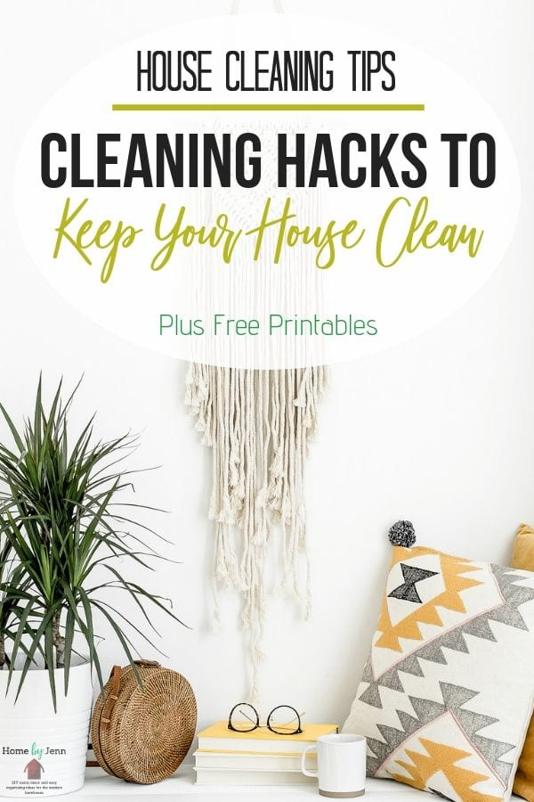 Learn how to keep your house clean with these house cleaning tips to help you. This post walks you through daily, weekly, and monthly cleaning schedules. #cleaning #schedule #wholehomecleaninglist via @homebyjenn
