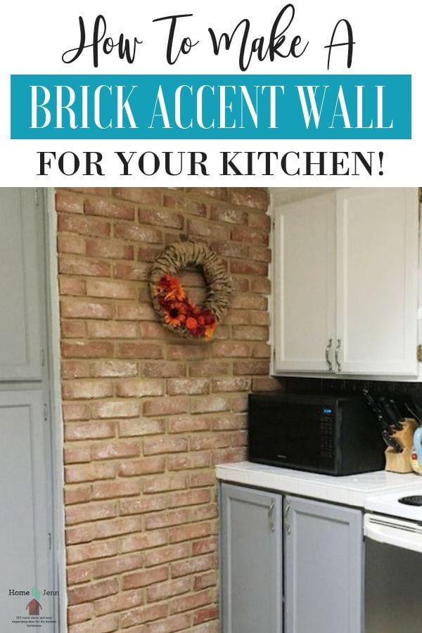 Follow this guide to learn how to make a brick accent wall for your kitchen today! This brick wall will transform your kitchen space #rustickitchn #brickwallaccent #diyforhome via @homebyjenn
