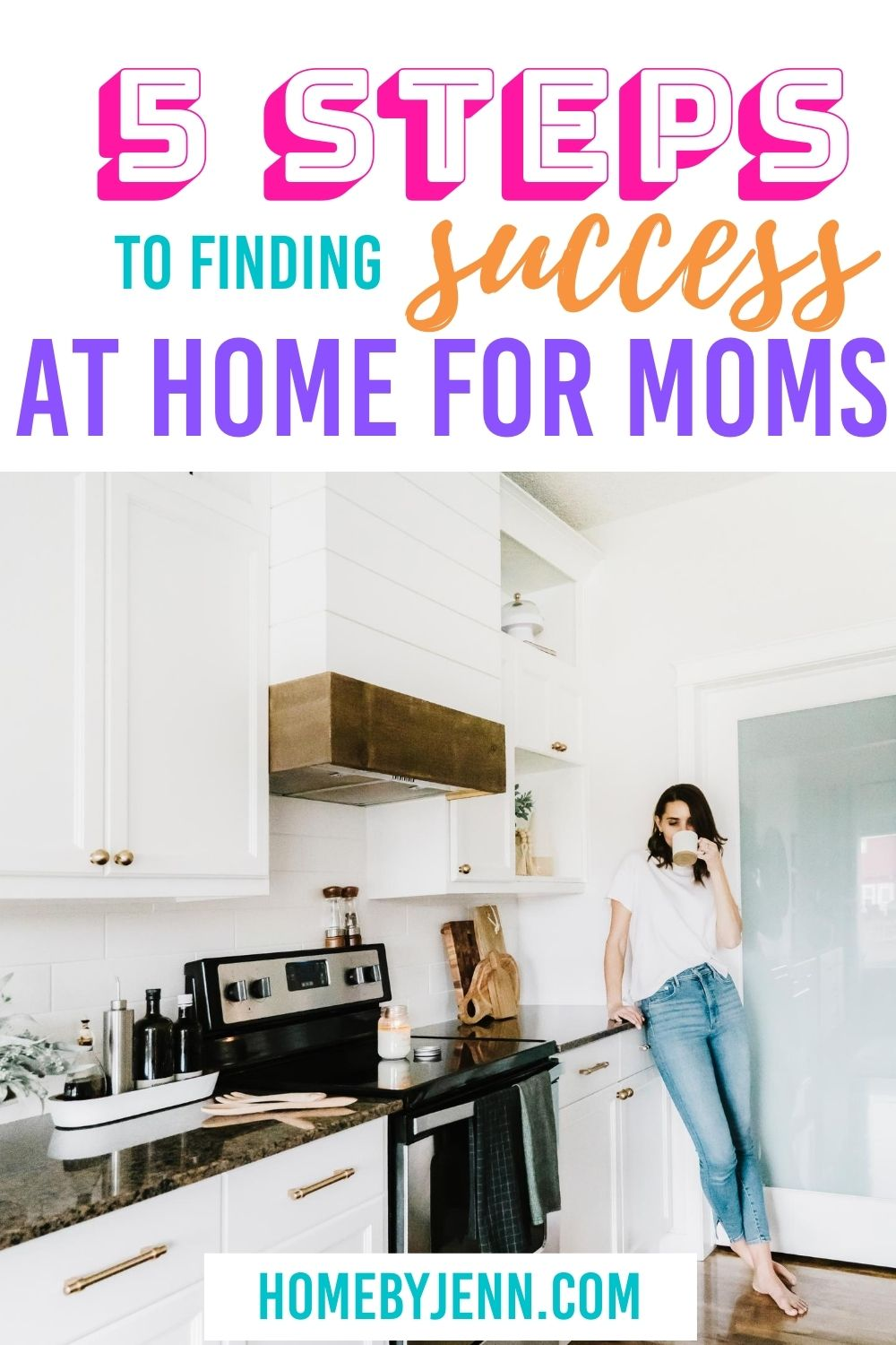 Learn the 5 steps to success at home for moms who are always on the go. Simple tips when utilized have major success overall. #successathome #success #stayathome #moms #tips #gettingorganized #planner #prep via @homebyjenn