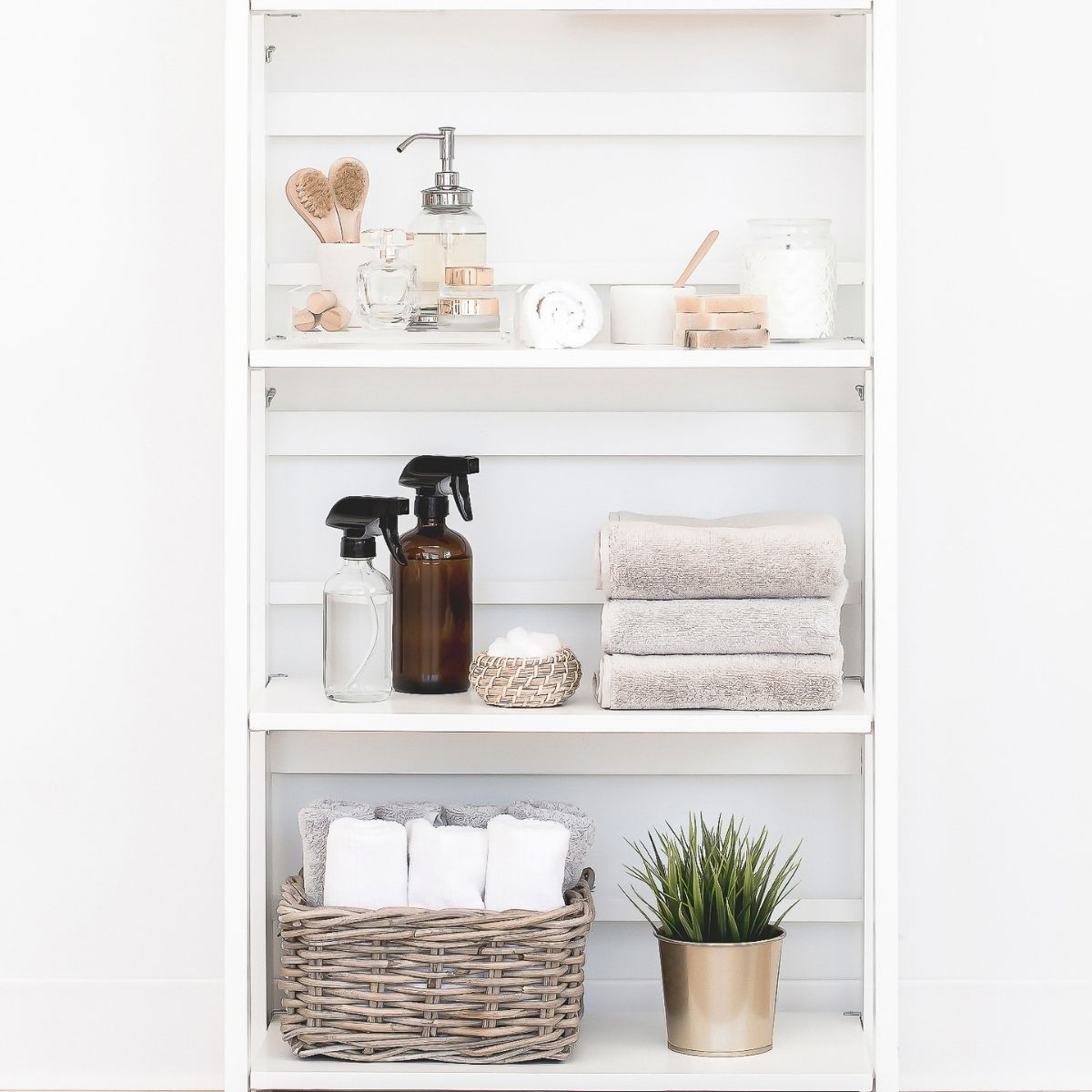 cleaning supplies on a shelf